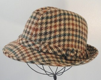 Green and Brown Plaid Wool Vintage Stetson Fedora Hat