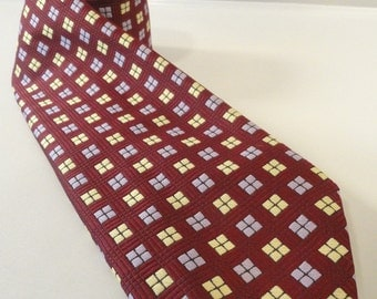 Burgundy Lilac and Yellow Geometric Men's Vintage Neck Tie by Witzig's
