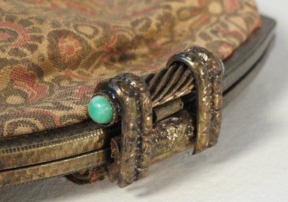 Silk Floral Vintage Handbag Purse Clutch Brass Frame with Jade Cabochons