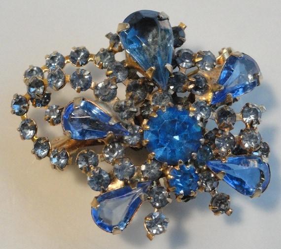 Sparkling Blue Vintage Rhinestone Brooch Pin
