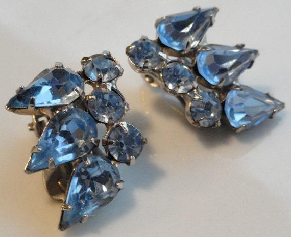 Icy Blue Vintage Rhinestone Earrings
