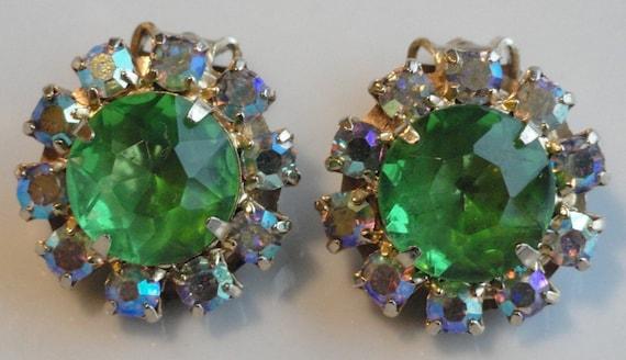 Large Green Rhinestone Vintage Earrings
