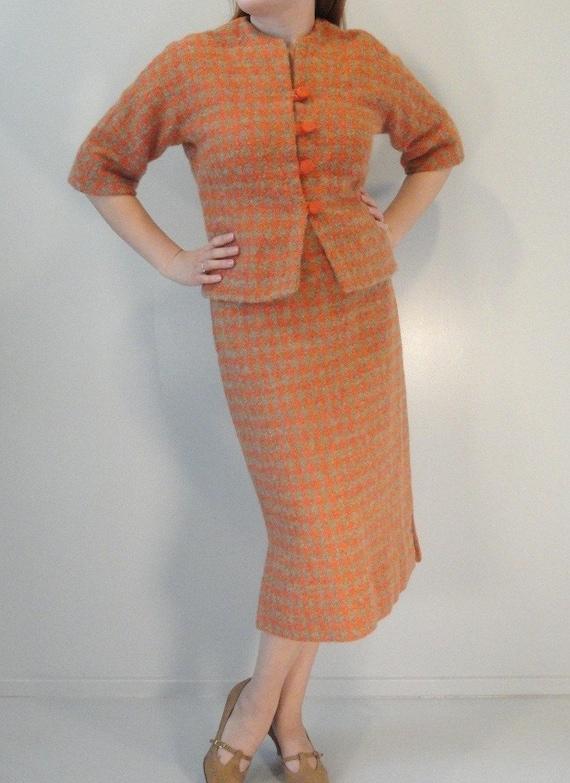 Pumpkin Orange and Tan Plaid Vintage 2 Pc Suit Jacket Skirt Mad Men 1950s