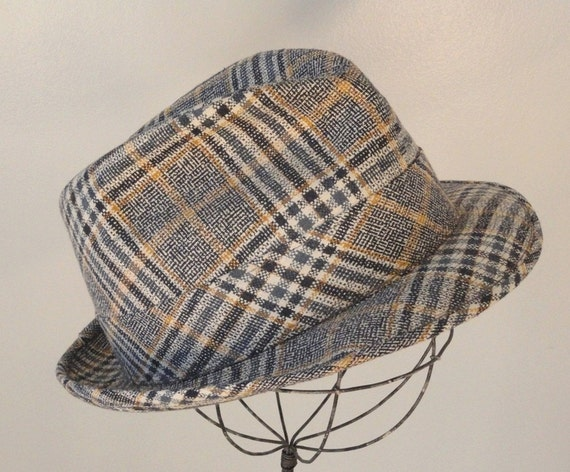 Blue White and Gold Vintage Mens Fedora Hat