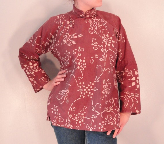 Cocoa Brown Vegetable Dyed and Stenciled Vintage Oriental Style Blouse Top Shirt 1970s Size Medium/ Large