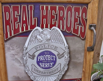"""POLICE WaLL CABINET--""""Real Heroes Don't Need Capes""""--POLICE Department--- """"To Protect and to Serve""""-great storage solution-Medicine Cabinet"""