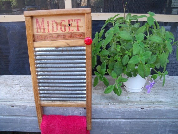 anTiQue primiTive MidgeT WASHBOARD upcycled REpurposed REcycled to a WALL CABINET