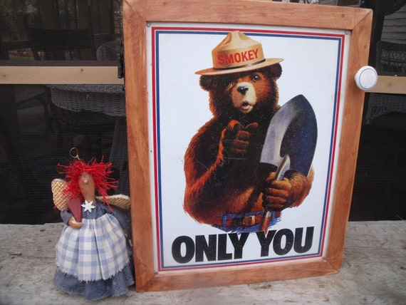 "uniQue Tin Sign WALL CABINET --- Smokey the Bear ""OnLy You""-- GreaT  storage or Medicine CaBiNeT"