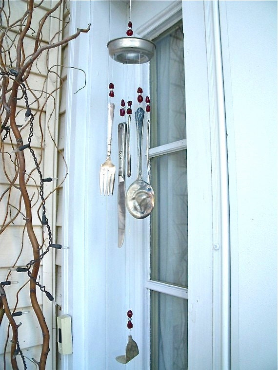 WINDCHIME recycLed siLverWare and vinTage tin JeLLo moLD pLus gLass beaDs