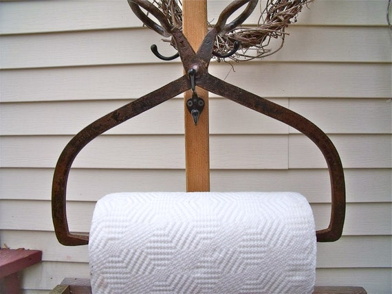 primiTive anTique IcE TonGs REcycled inTo a PAPER TOWEL HOLDER-HeaVy DuTy CasT iRoN with brown/black paTina-plus Bounty Basics paper towels