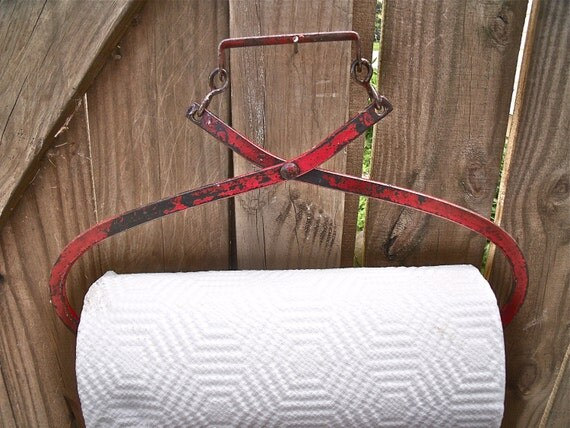 primiTive anTiQue ReD IcE TonGs REcycled / REpurposed inTo a PAPER TOWEL HOLDER plus roll of Bounty Basics paper towels -aWeSoMe