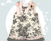 Black and White Toile A-Line Shift Dress - Bows optional