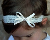 newborn, baby, toddler, girl butterfly satin bow christening baptism bridal lace headband pink white or ivory