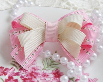 Baby Toddler Girl Boutique Double Bow floral Ivory & Pink Non Slip Hair clip