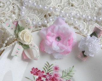 BABY Toddler GIRL & tween vintage inspired 3 white, ivory and baby pink pearl bow rose flower Non slip hair clip trio set baptism