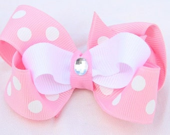 baby toddler girl pink and white boutique double layer floral bow non slip hair clip
