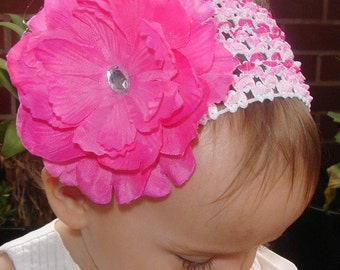 newborn baby toddler girl pink peonie flower non slip hair clip multi stripe pink crochet headband