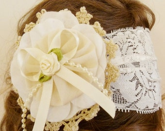 baby girl & lady ivory cream or white flower girl lace vintage headband head wrap