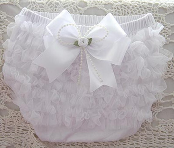 Baby to 3 years old girl white or pink ruffle bloomers baptism diaper cover nappy cover with pink or white satin bow brooch