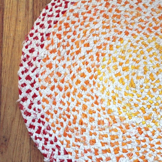 Handmade Gradient Oval Braided Rag Rug