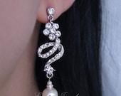 Swarovski Rhinestone Ivory Pearls Long Bridal Stud Earrings E007