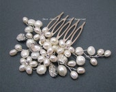 Vine Bridal Hair Comb - White Fresh Water Pearls Brides Bridesmaid Wedding Hair Jewelry Accessory Gifts