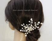 Bridal Hair Comb, Wedding Hair Accessories, Ivory Off White Swarovski Pearls Headpiece, Tiara, Fascinator, Side Comb, Bridesmaids comb