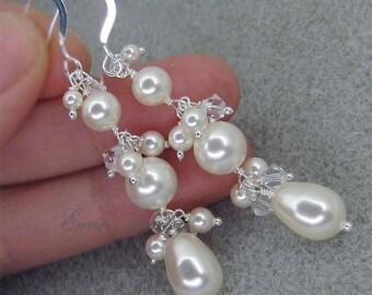 Bridal EArrings, Pearl WEdding EArrings, Ivory Pearl Crystal Sterling Silver Earrings, Bridal Jewelry, Bridesmaids Earrings E1005