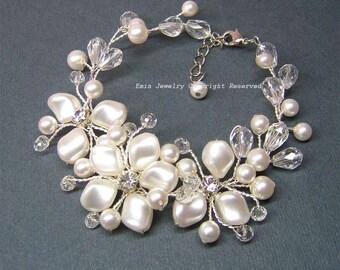 Pearl Wedding Bracelet, Handmade Bridal Cuff Bracelet, Swarovski Ivory Pearls Rhinestone Crystals  Floral Wide Bracelet, Jewelry Brides