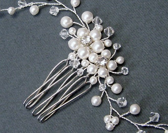 Floral Bridal Hair Comb,  Swarovski White Pearls Clear crystal rhinestone Silver Comb, Wedding Hair accessories, Bridal Hair Pieces