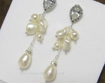 Pearls Cluster Earrings Ivory wedding Earrings,Swarovski Bridal Jewelry, Pearl Dangle Earrings , Rhinestone Stud Earrings T15122103