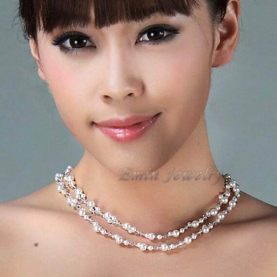 White Swarovski Pearl Crystal Multi Strands Bridal Necklace