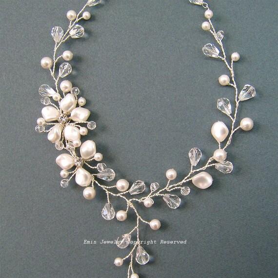 Pearls Bridal Necklace, Ivory Wedding  Necklaces, Bridal Jewelry, Flower Vine Design Y Shape Bridal Necklace, Statement Wedding Necklaces