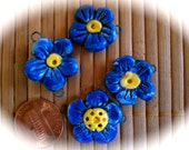 4 Blue and Yellow ceramic carved connector beads