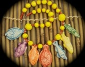 Colorful One of a kind ceramic fish necklace