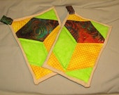 Funky potholders (yellow\/green)