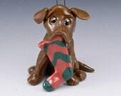Labrador Retriever Ornament Chocolate Porcelain Sculpture
