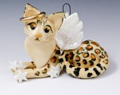 Bengal Cat Angel Porcelain Ornament playing with stars Original Sculpture