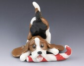Basset Hound Ornament with Candy Cane Porcelain