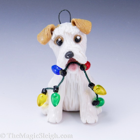 Parson Russell Terrier Ornament with Christmas Lights Porcelain