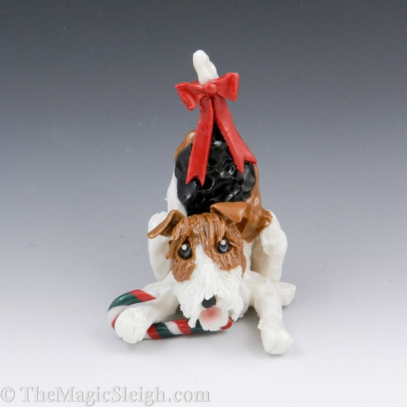 Wire Fox Terrier Ornament with Christmas Candy cane Porcelain