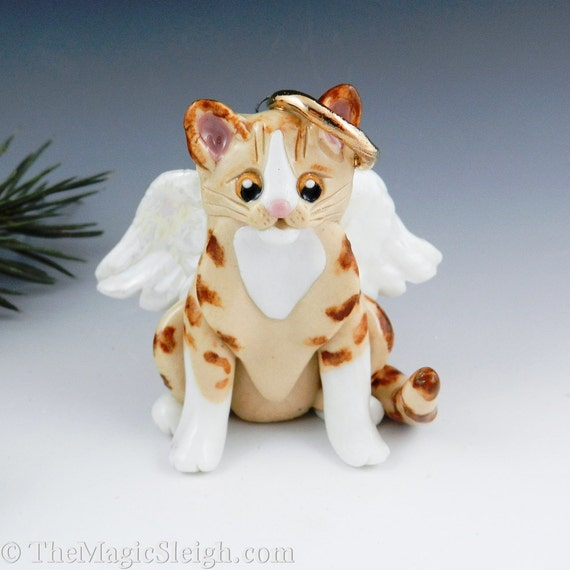 Angel Cat Red and White Tabby Ornament Figurine Porcelain