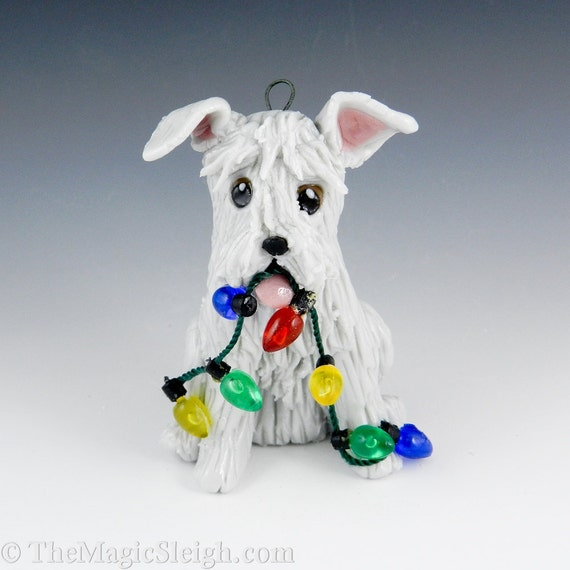 Schnauzer Ornament Light Gray with Christmas Lights Porcelain