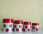 Vintage 1970s Strawberry Polka Dot Metal Canisters (Set of 4)