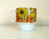 Vintage 1970s Orange and Yellow Floral Coffee Cup