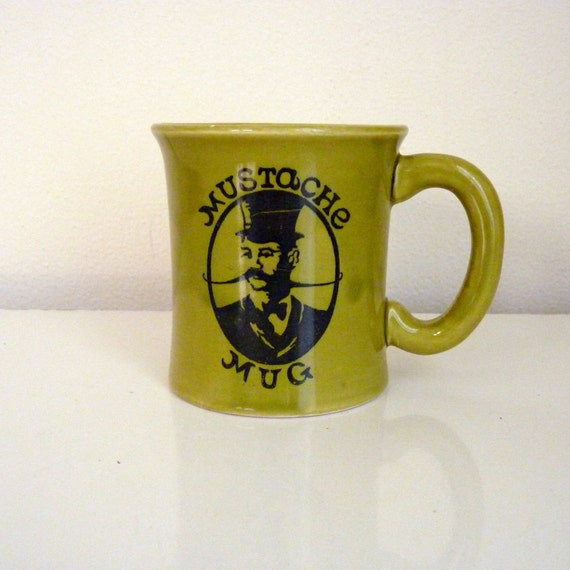 Vintage 1970s Avocado Green Mustache Mug