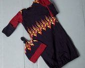 Flames Infant Baby Layette Gown and Knot Hat