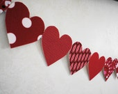 i heart you fabric banner -- (reds)