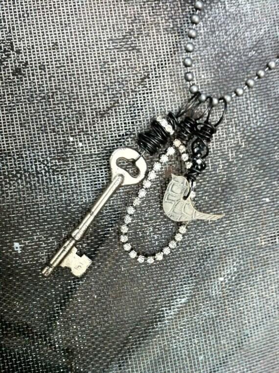 Key to Fly Necklace w/Trio of Pendants...Vintage Serving Tray Bird, Rhinestone Wing & Skeleton Key from Cherish Designs by Kris Lanae