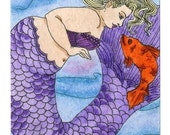 Fishy Conversations Mermaid aceo (2.5x3.5 inches)